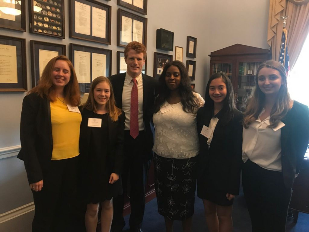 Noelle Stockwell and fellow interns with Congressman Joe Kennedy III.