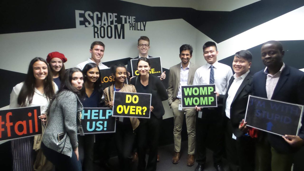 Sorenie Gudissa and other Glenmede interns at Escape the Room Philly